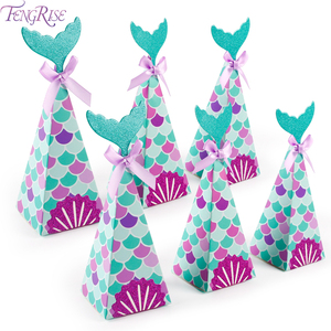 FENGRISE little Mermaid Party Gift Candy Boxes Mermaid Birthday Party Decor Kids Birthday Party Supplies 1 year Birthday Decor