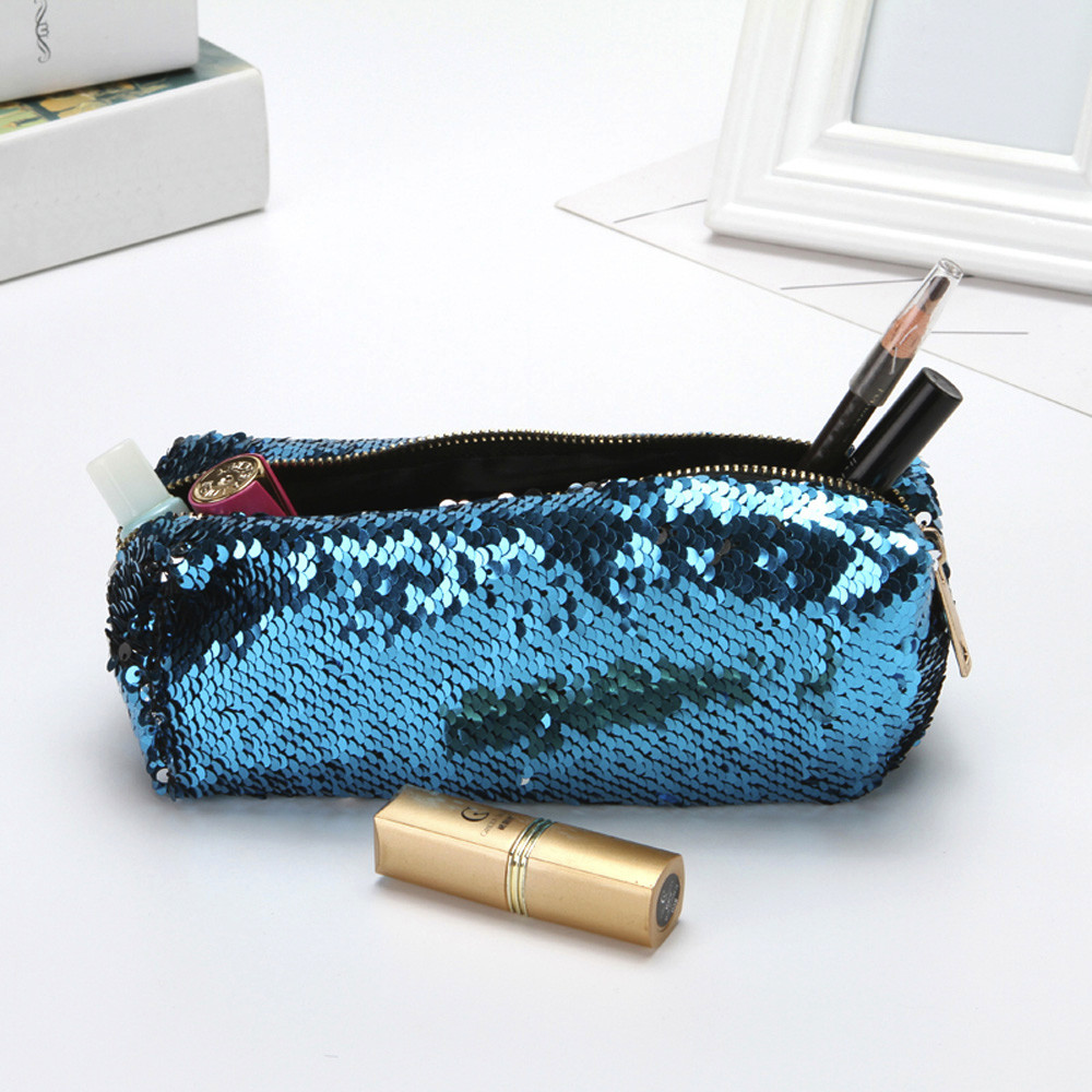 Cosmetic Bags Makeup Bag Women Travel Organizer Double Color Sequins Storage Brush Necessaries Make Up Case Beauty Toiletry Bag hdwiss fashion toiletry bag women cosmetic bags necessaries makeup organizer make up case cb015