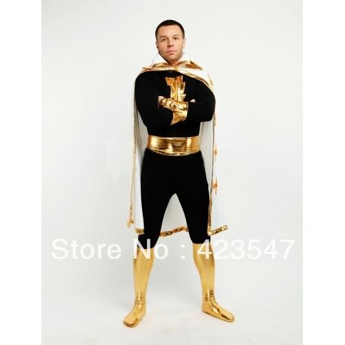 Black Justice League The Flash Captain Marvel Metallic Spandex Captain Marvel Costume Halloween CostumesCostumes