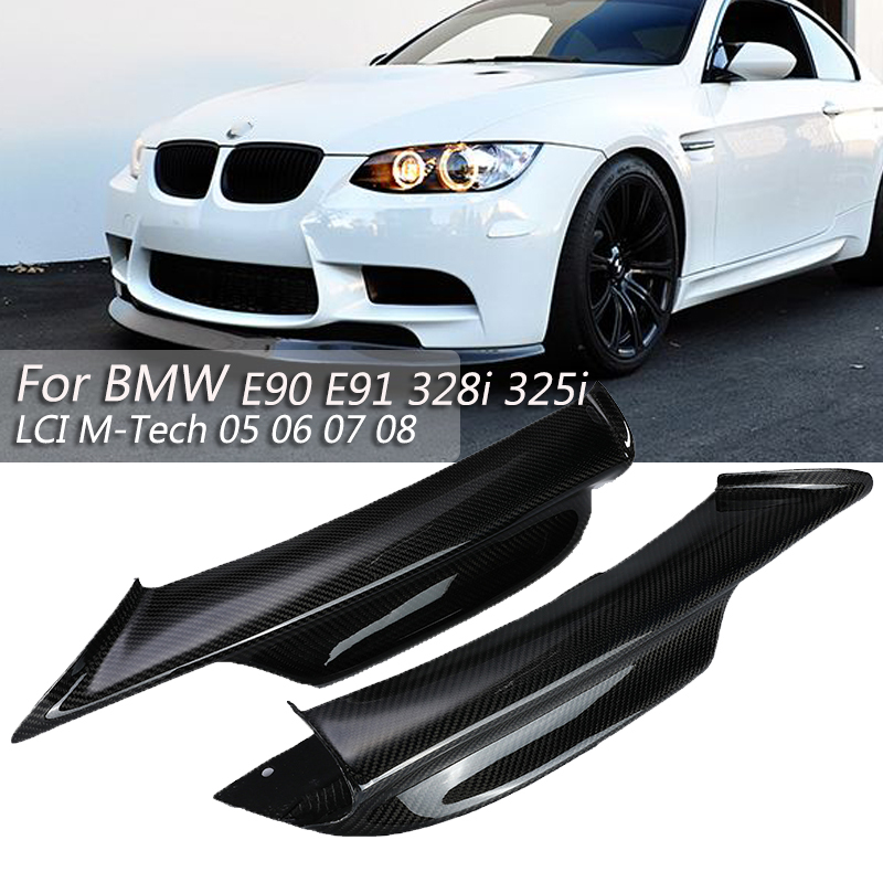 2 pièces Universel De Pare-chocs avant en Fiber de Carbone Pour BMW E90 E91 328i 325i LCI M-tech 2005 2006 2007 2008 Protéger Séparateur Becquet