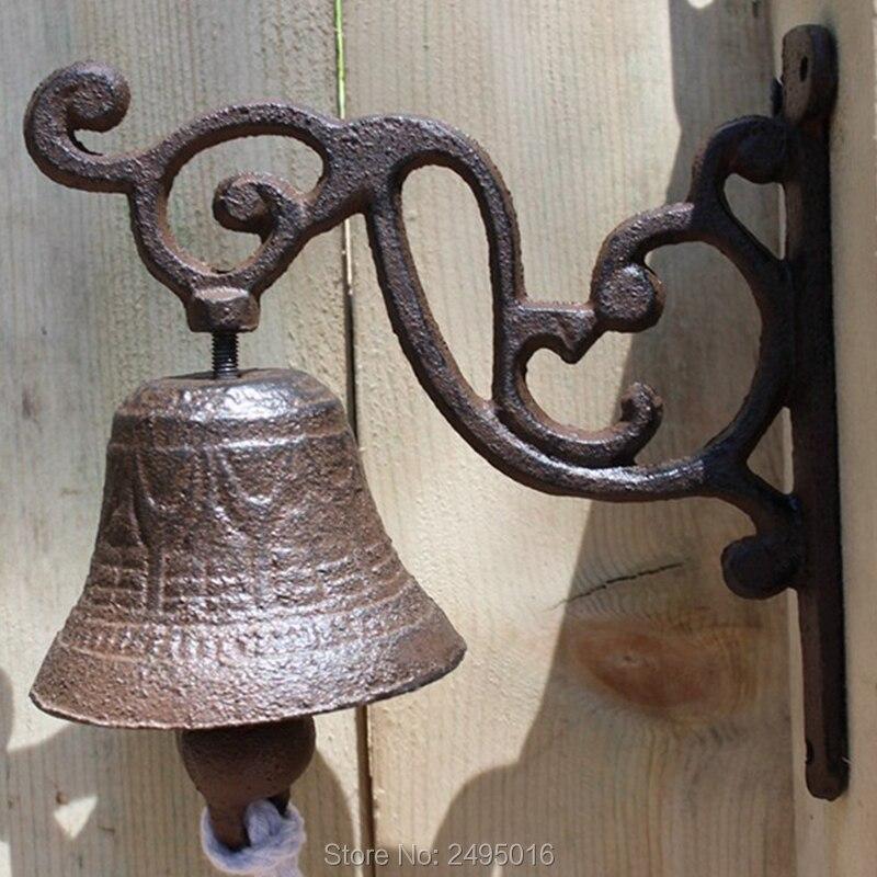 Antique Cast Iron Welcome Dinner Bell Rustic Hanging Decorative Metal Craft Outdoor Garden Wall Door Home Decorations Gift