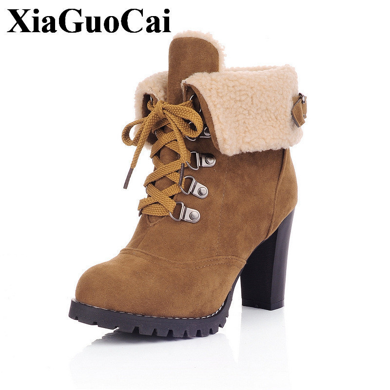 Plus Size Fashion Thick High Heel Shoes Women Boots Pointed Toe Ankle Boots with Platform Wnter Lace-up Warm Snow Boots H395 35 fashion pointed toe lace up mens shoes western cowboy boots big yards 46 metal decoration