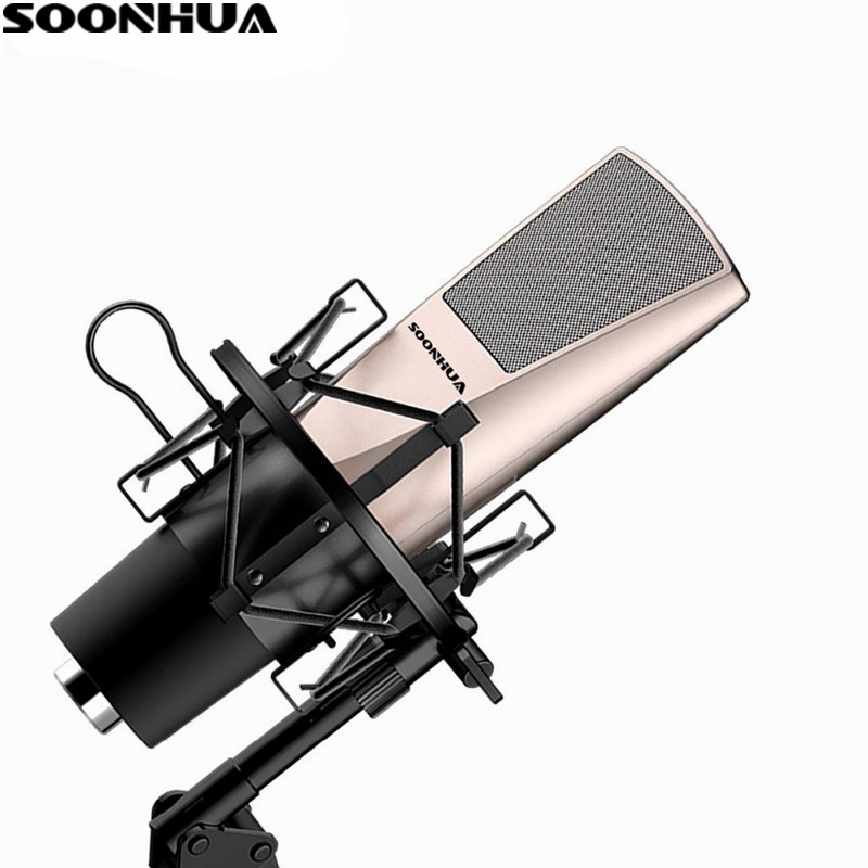 Newest Fashion SOONHUA Desktop Condenser Microphone Professional Studio Broadcasting Mic With Shock Mount For Computer/PC oxygen winner w130