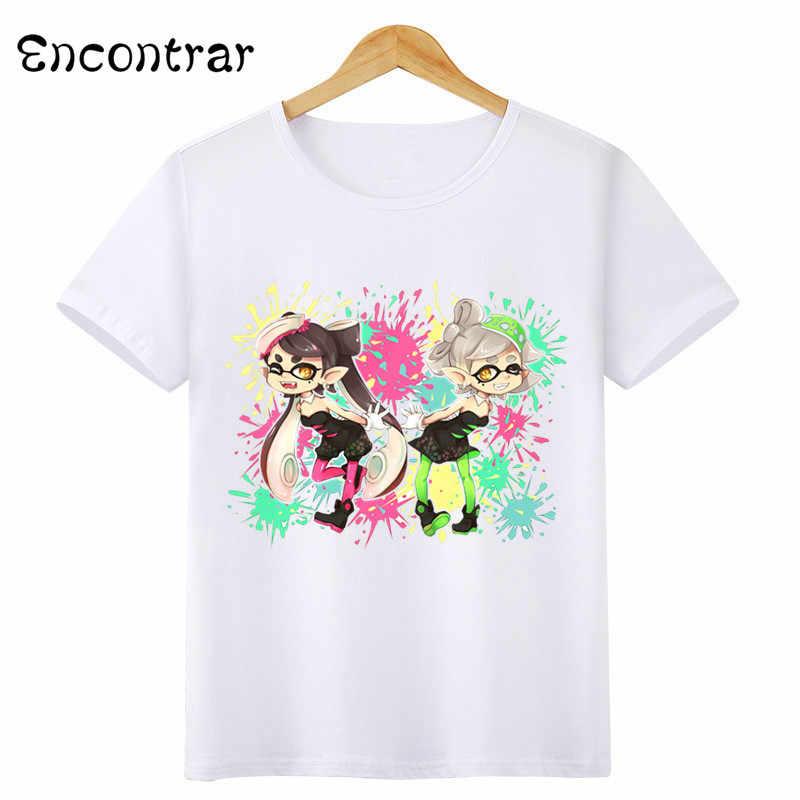 Kids Splatoon Inkling Design T Shirt Boys/Girls Casual Short