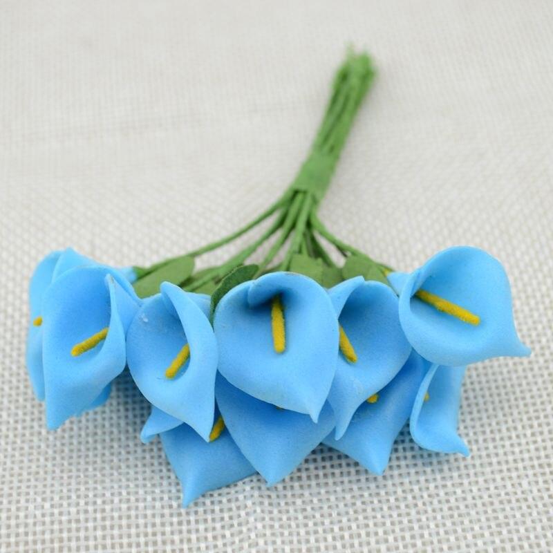 12 шт. мини пена Калла ручной работы искусственный цветок свадебное оформление букета DIY ВЕНОК Подарочная коробка Скрапбукинг Ремесло поддельные цветы - Цвет: blue