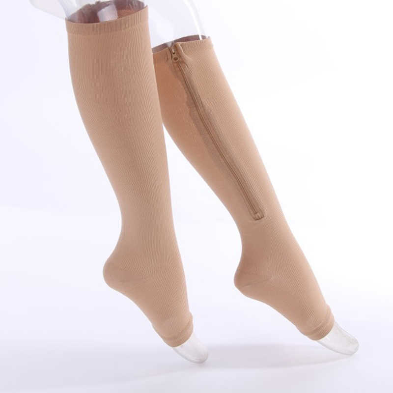 e36351c23e Detail Feedback Questions about New Fashion Unisex Compression Socks Zipper  Leg Support Knee Sock Meias Open Toe Thin Anti Fatigue Women Elastic Socks 2  ...