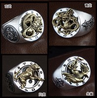 925 серебро Ретро Мода Человек Личность ретро четыре покровителя Святой тайский серебряный указательный палец кольцо