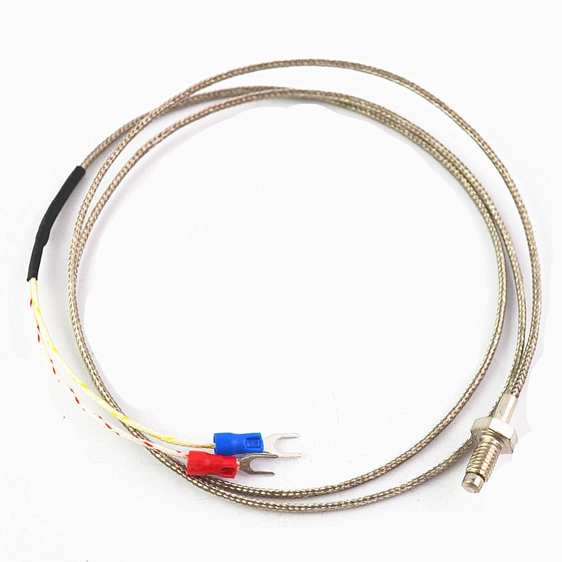 M6 Thread K Type Thermocouple Temperature Controller 0-800C Sensor Cable Wire 1M 2M 3M