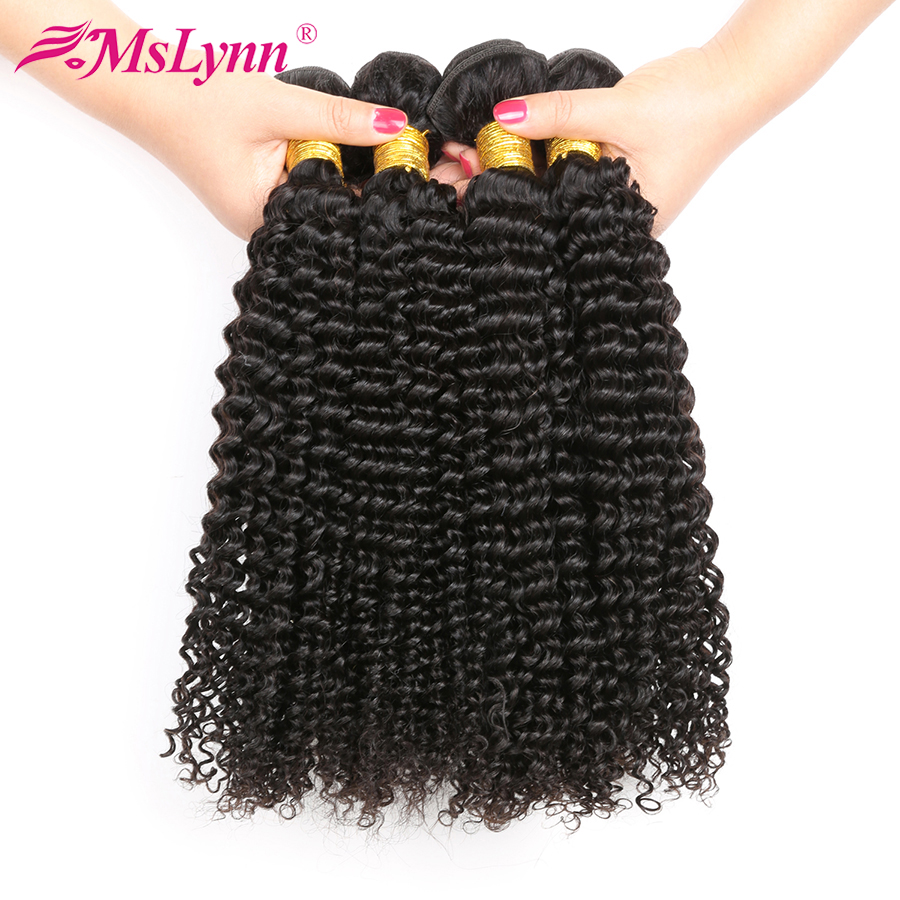 Mslynn Afro Kinky Curly Hair 4 Bundles Deal Brazilian Hair Weave Bundles Human Hair Double Hair Weft Natural Color Non Remy