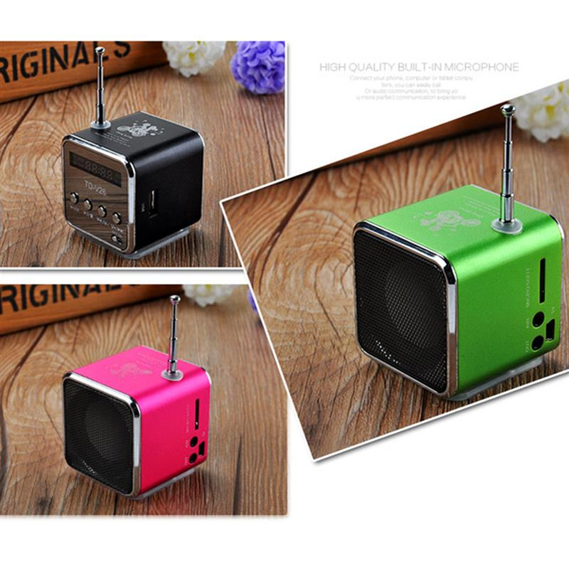 Mini Speaker Portable Digital LCD Stereo Super Bass Speaker Music MP3 MP4 FM Radio Receiver for Laptop Phone td v26 portable mini 1 0 lcd speaker w mp3 fm radio deep pink black