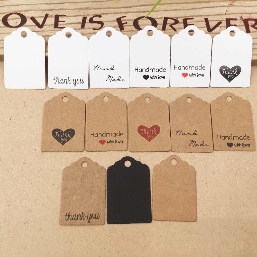 100 cái DIY Kraft Thẻ Giấy Đầu Nhãn Hành Lý Wedding Party 3x2 cm Giá Trống Tag Kraft Quà Tặng treo Tag