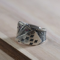 S925 silver and Thai silver restoring ancient ways technology fashion wholesale silver ring CARDS male ring shape