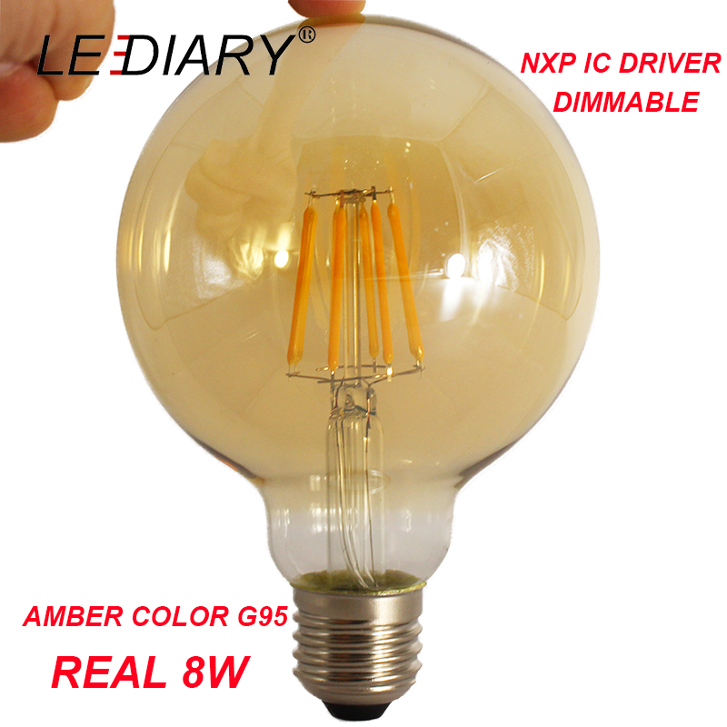 LEDIARY Dimmable LED G95 E27 Filament Bulb Amber Retro Vintage Lamp G95 Real 8W 220V-240V NXP IC Driver Better Dimming Effect