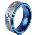 8mm Comfort Fit Tungtsen Carbide Abalone Shell Wolfram Rings Blue Wedding Band for Men Women Finger Jewellry