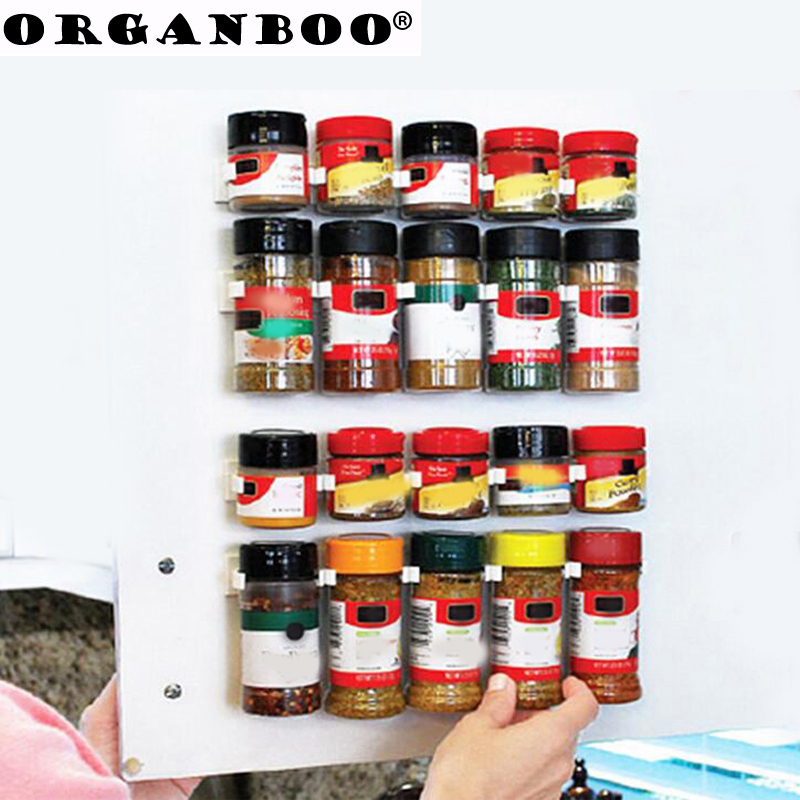 ORGANBOO 4PC/Set Kitchenware Simple Bottle Clips Storage Shelf Seasoning Bottle Shelf Kitchen Spice Organizer