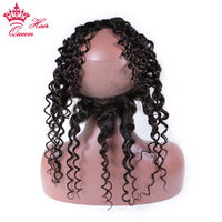 Queen Hair Products 360 Water Wave Lace frontal closure with baby hair and natural hairline Brazilian remy hair 100% human hair