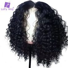 Luffy Short Curly Malaysian Non Remy Hair Lace Front Human Hair Wigs With Baby Hair 180% Density Natural Color 6inch Deep Part