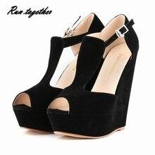 Spring summer new fashion sexy women pumps peep toe wedges platforms high heels sandals shoes woman buckle 35-42 loslandifen
