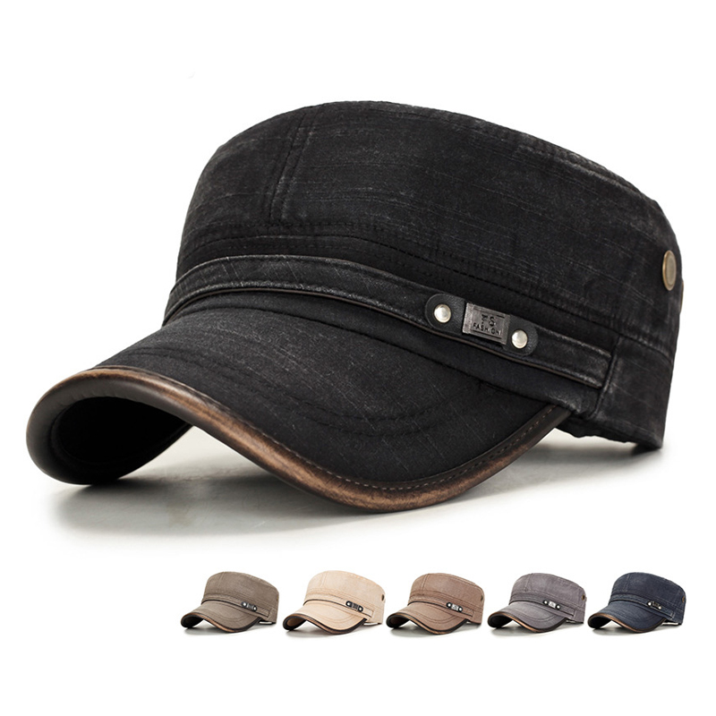 Fashion Men Flat Hat Autumn Male Solid Caps Cotton Hat with Wide Brim Spring Wind Protcetion Hats Comfort Sweatband Military Cap(China)