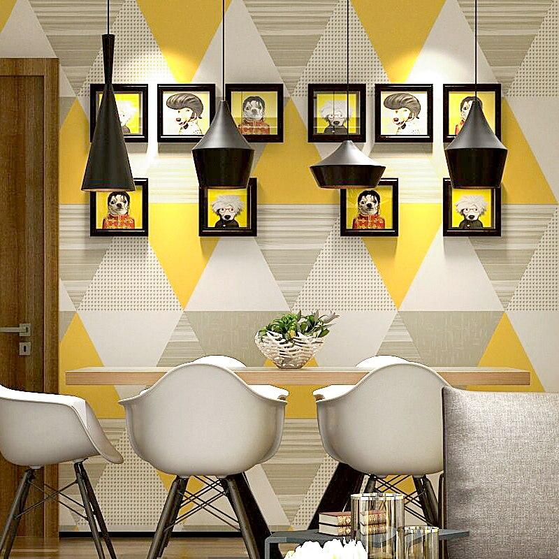 US $31.99 36% OFF Moderne Nordic Europa Geometrische Wand Papier Roll Blau  Grau Gelb Gitter Kontakt Papier für Hintergrund Wohnzimmer Schlafzimmer ...