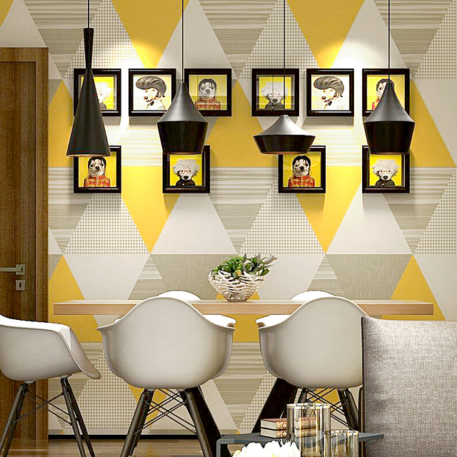 Moderne Nordic Europa Geometrische Wand Papier Roll Blau Grau Gelb Gitter  Kontakt Papier Für Hintergrund Wohnzimmer