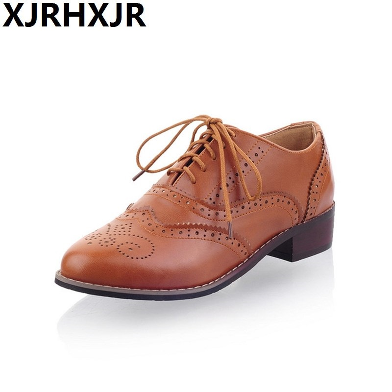 Black Beige Apricot Women Retro British Oxford Shoes Lace Up Leather Casual  Comfort Low Heel Pumps