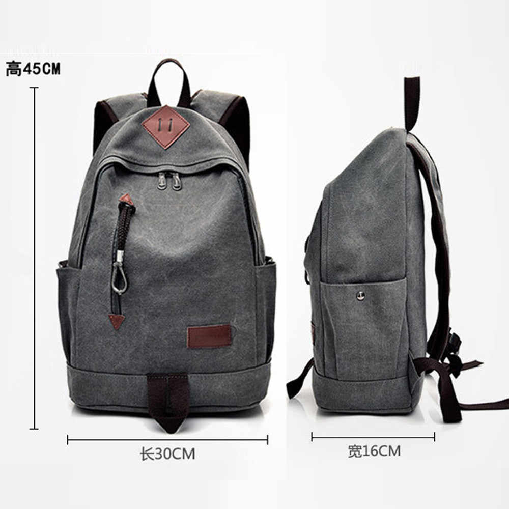 ... Men Canvas Backpack Teenage Boys School Bag Laptop Backpacks Students  Casual Travel Rucksack Large Book Bags ... f0734225c2a4c