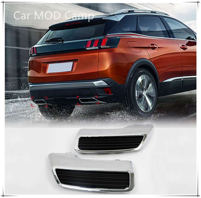 For Peugeot 3008 Allure Active Access 5008 2017 2018 Chrome Rear Exhaust Muffler Tail End Pipe Replacement Kit 2pcs Car Styling chrome car styling side mirrors glossy pairs cover accessories for peugeot 3008 5008 2017 2018 rearview rear view overlay