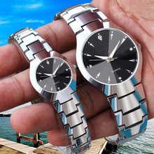 Модные Для мужчин часы Повседневное Для женщин часы ремешок Нержавеющая сталь любителей пара мужской женский наручные часы серебряный браслет кварцевые часы