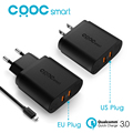 Original CRDC QC 3.0 USB Wall Quick Charger 2 ports EU US Plug for iPhone Samsung Huawei Xiaomi & More QC3.0 HTC LG USB Charger