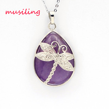 Water Drop Dragonfly Necklace Pendants Reiki Pendulum Silver Plated Natural Stone Charms Crystal Fashion Jewelry 1pcs