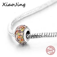 Venda quente 100% 925 Prata Esterlina encantos coloridos CZ Beads DIY Fit Pandora autêntica Pulseiras fazer Jóias para as mulheres Presentes
