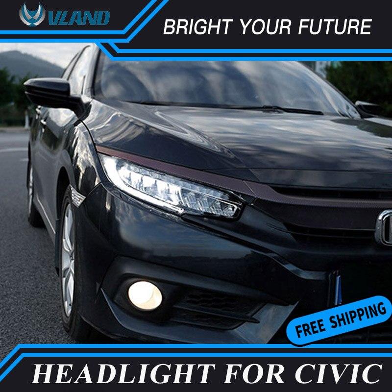 Авто фары в сборе для Honda Civic 10th светодиодный фар 2016 Bi Xenon луча проектор с желтый перемещение Включите свет головы лампа