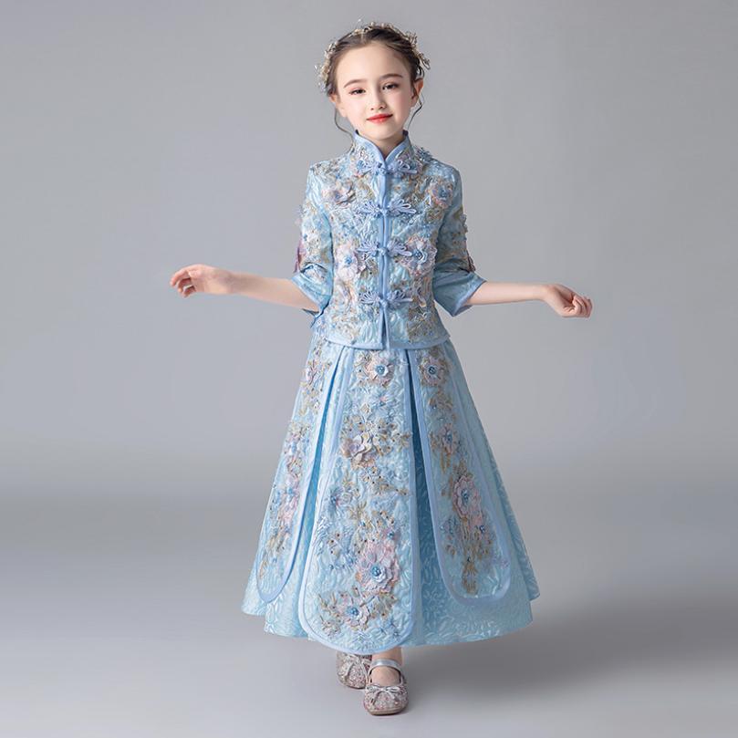 2019 nouveau luxe enfants filles broderie fleurs Style chinois Cheongsam ensembles enfants Tang costume robe Modis enfants vêtements Y1629