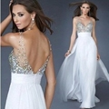 Nueva belleza blanco v-cuello backleslong gasa una línea de dama de honor plisada cintura alta lentejuelas dress wedding party dress 2016 bata
