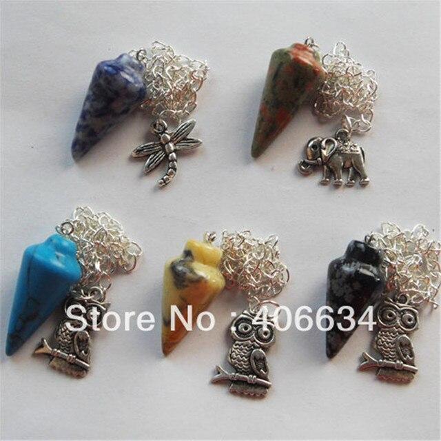 (Min.order 10$ mix) Free shipping (5pieces/lot) mixed Natural Stone pendulum Pendant Bead R0020309