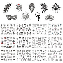 12 Designs Nail Polish Sticker Retro Black Owl Jewelry Flowers Mask Feather Symbol Water Decals Manicure Tattoos BEBN973-984(China)