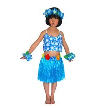 Hawaiian Grass Style Baby Beach Sunny Skirt Flower Hula Lei Garland Top+Skirts Costume 5PCs