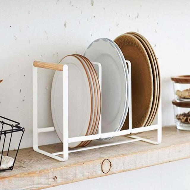 1pc Stainless Steel Kitchen Dish Rack Cup Dinner Plates Bookshelf Holder Organizer Storage Shelf 20