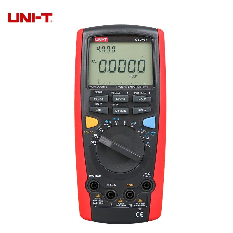 Uni t UT71D Цифровой мультиметр lcd профессиональный AC DC Вольт Ампер Ом Гц температура. Мультиметровый Автоматический диапазон True RMS