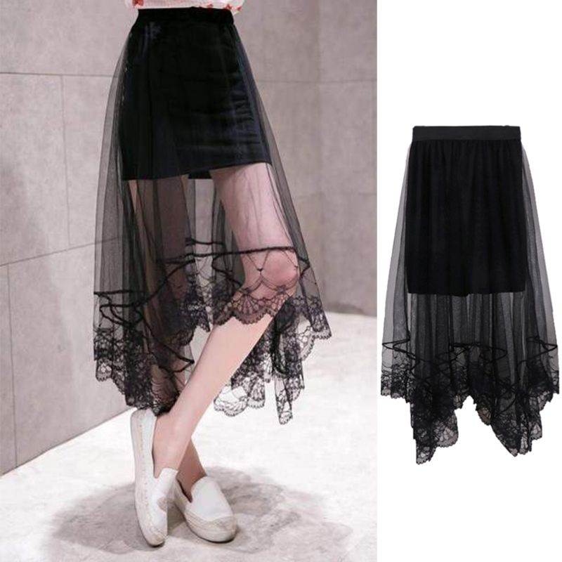 Women High Waist Scalloped Lace Trim Midi Long Skirt Lined Solid Color Irregular Hem Pleated Double Layer Sheer Mesh Party