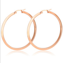 40mm Big Hyperbole Rose Gold Silver Color Top quality Ear Clip For Women Men Stainless Steel Stud Earrings Fashion Jewelry