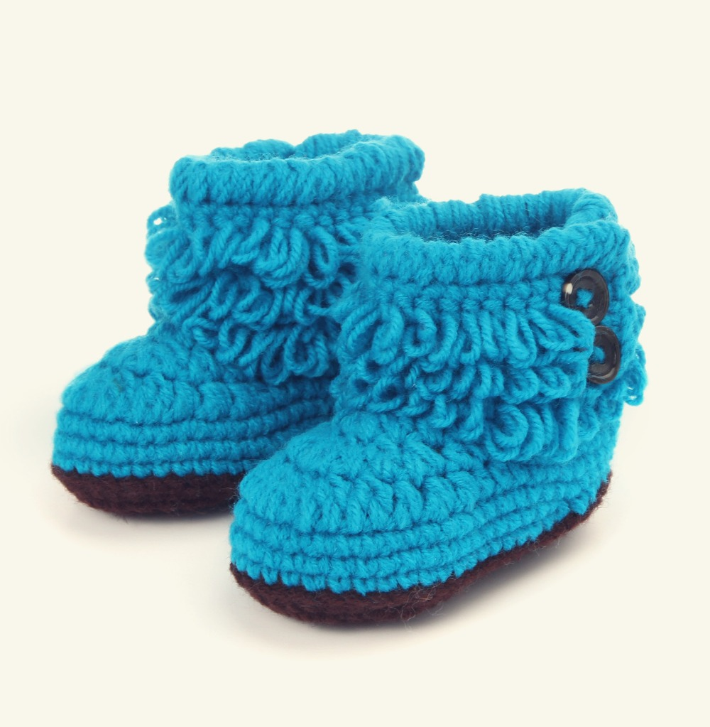 Baby Girls Crochet Handmade Knit Shoes Cute baby girls riding boots Woolen Shoes baby photography props 5BS37