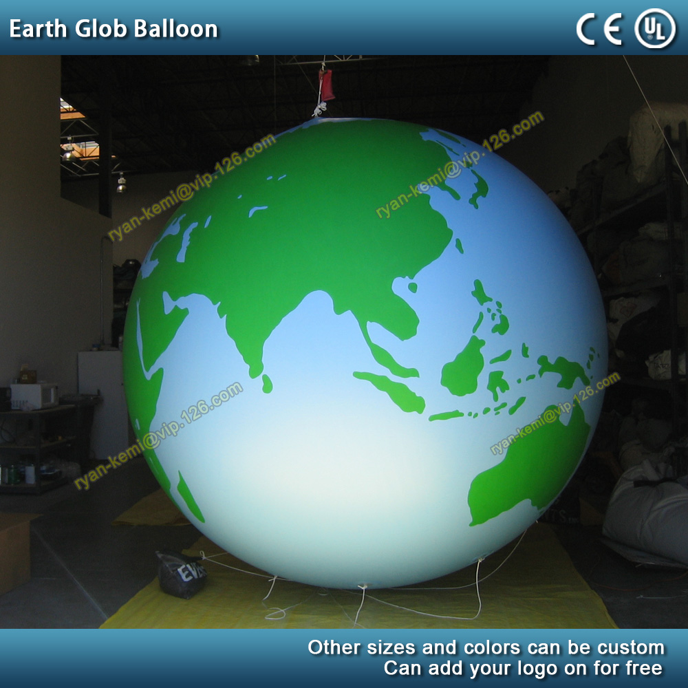 Green blue PVC inflatable earth glob balloon planet ball sphere inflatable helium balloon giant advertising balloon pump LED