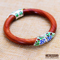 Sterling Silver Jewelry Wholesale Silver S925 Retro Red Sandalwood Bracelets Folk Style Cloisonne Factory Direct