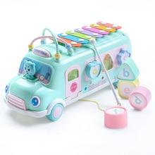 8 шт./компл. Многофункциональный Раннее образовательных автомобиль игрушки ребенок учится Музыка 5 в 1 автобус Пластик блоки круглые бусины дети подарок на день рождения