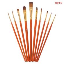 10Pcs Artist Paint Brush Set Nylon Hair Watercolor Acrylic Oil Painting Drawing Supplies