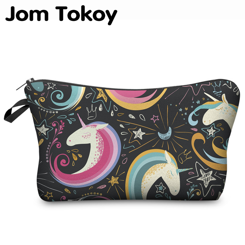 Jom Tokoy Unicorn 3D Printing Cosmetic Bag Women Makeup Bag Fashion  Cosmetic Cares Trousse De Maquillage Neceser