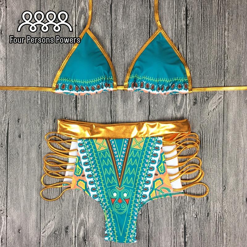 Women S Green Palm Leaf Print Strappy Wrap Triangle Brazilian Bikini Set Swimsuits Swimwear Summer Beach
