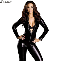 Sagace Enticing Sexy Women Black Patent Leather Zipper Tight Jumpsuits Coverall Lady Sheath Motor Bodysuits Exotic